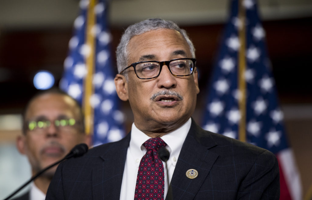 Rep. Bobby Scott, D-Va., speaks during the House Democrats news conference in the Capitol to unveil their debt-free college plan on Tuesday, July 24, 2018. Photo: Bill Clark/CQ Roll Call.
