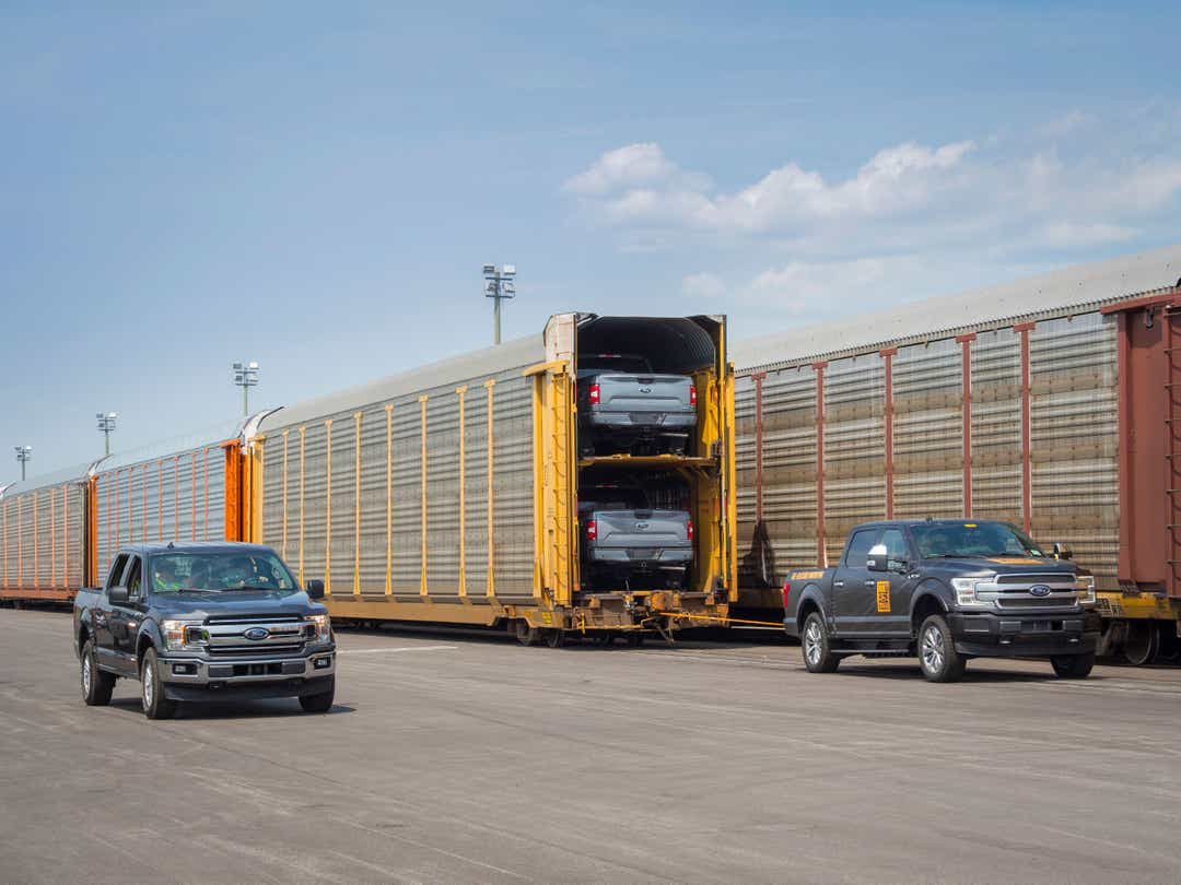 Ford F-150 EV prototype tows 10 trains loaded with pickup trucks