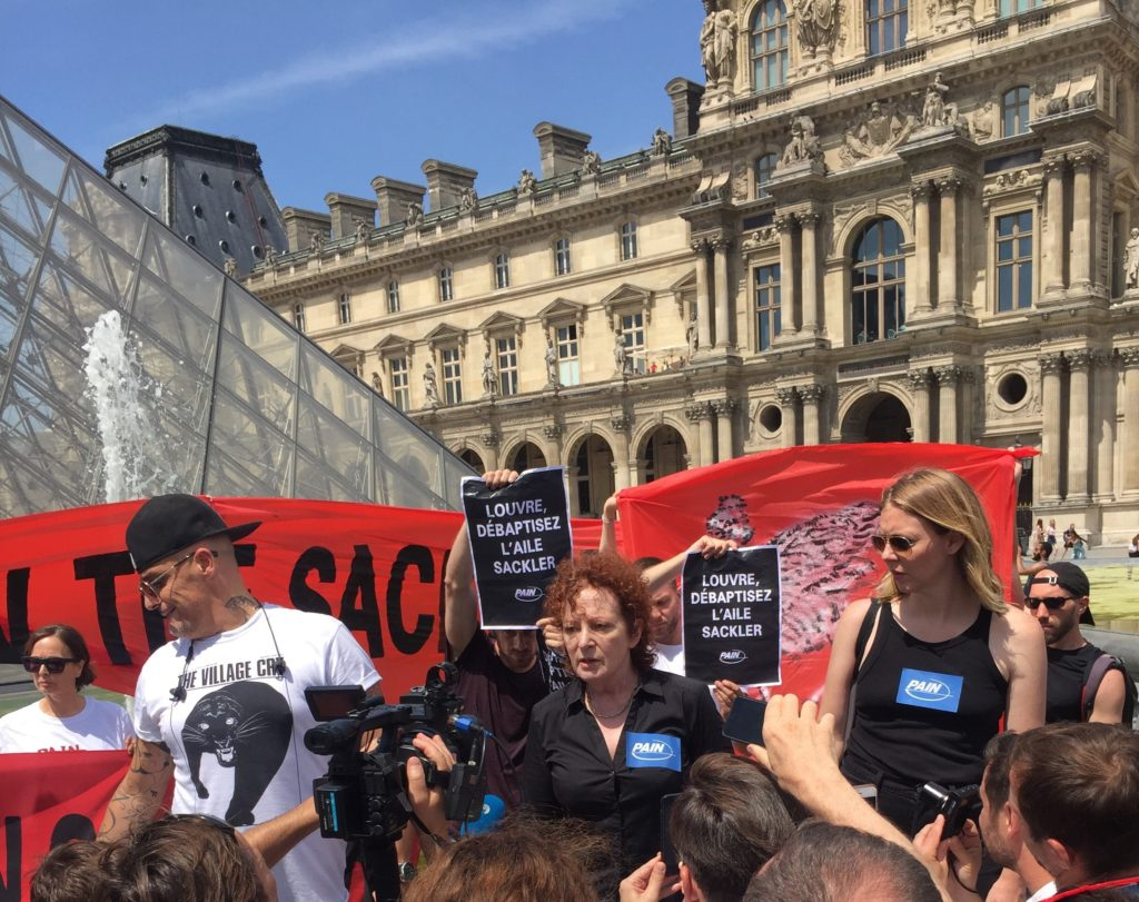 Nan Goldin and Anti-Sackler Opioid Activists Swarm the Louvre, Marking Their First Action in Europe