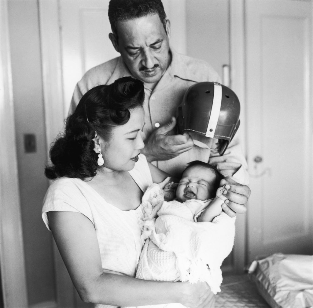 Thurgood and Celcilia Marshall with their son Thurgood Marshall Jr. after his birth in August 1956.