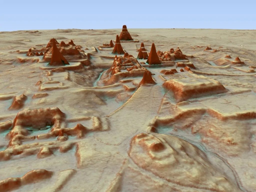 A LiDAR scan of the ancient Maya city of Tikal. Image courtesy of Marcello Canuto/PACUNAM.