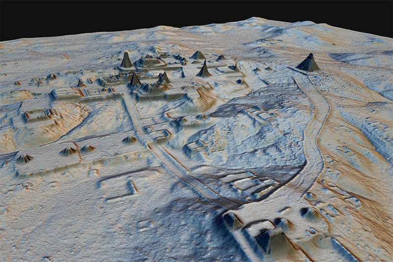 A topographical map of ancient Maya cities in northern Guatemala created with LiDAR scanning of the jungle. Image courtesy of the American Association for the Advancement of Science.
