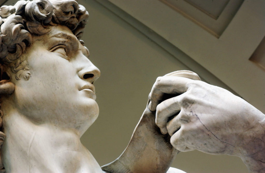 Michelangelo's masterpiece David at the Galleria dell'Accademia in Florence. Photo by Franco Origlia/Getty Images.