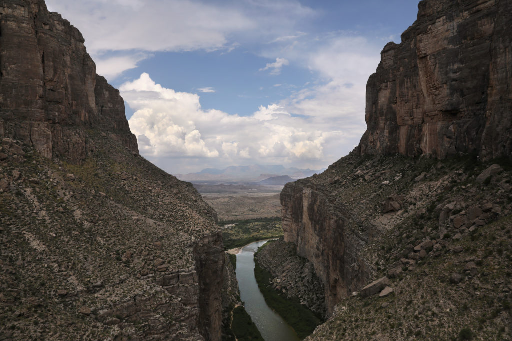The Rio Grande forms the US-Mexico border while winding through the Santa Elena Canyon in the Big Bend region in Texas. Photo by John Moore/Getty Images.
