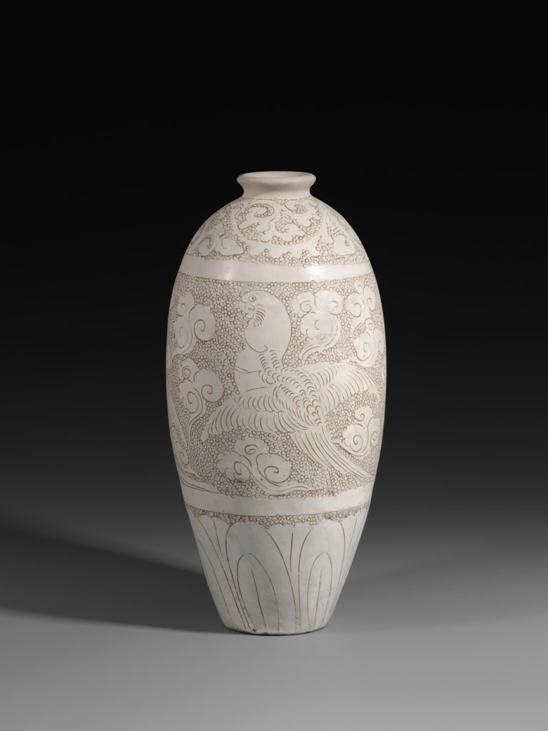 A large engraved white-glazed Cizhou Meiping. Northern Song Dynasty, (A.D. 11th Century). Image courtesy of J. J. Lally & Co., New York. Photo: Oren Eckhaus.