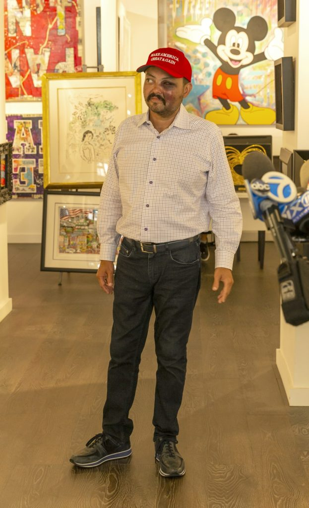 Jahangir Turan speaks at press conference at David Parker Gallery. Photo by Lev Radin/Pacific Press/LightRocket via Getty Images.