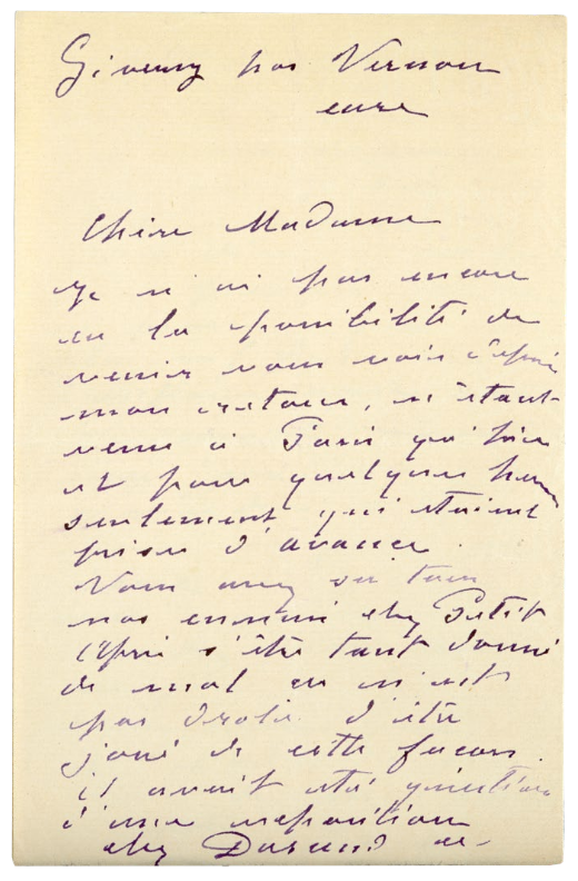 A May 1888 letter from Claude Monet to Berthe Morisot. Courtesy of White Lion Publishing.