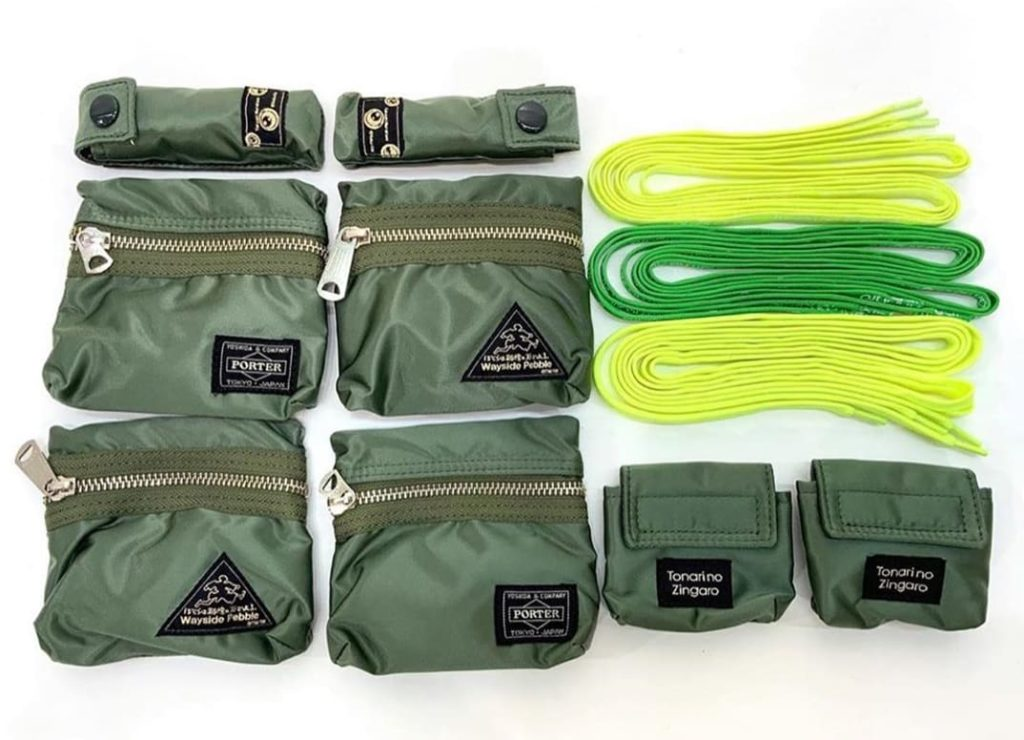 The shoelaces and removable Porter bags by Porter Yoshida & Co. for Takashi Murakami