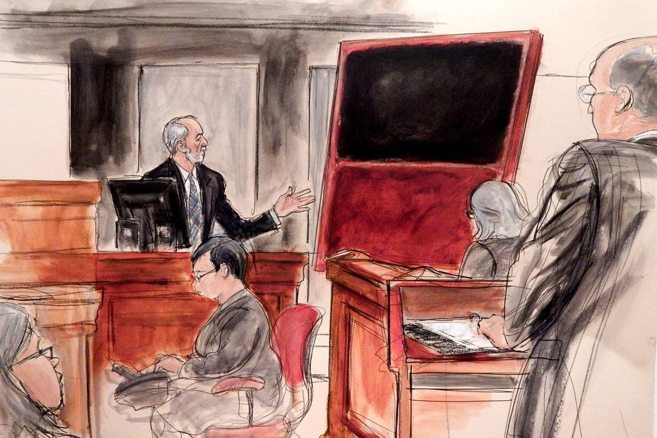 A courtroom sketch of Domenico De Sole on the witness stand with the fake Rothko painting he bought from Knoedler gallery. His case, which was separate from the one that jus settled, was the only one to go to trial.Photo: Elizabeth Williams, courtesy Illustrated Courtroom.