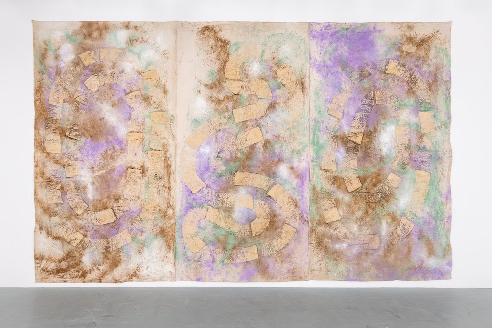 Jessica Warboys, <i>River Wax Painting, Snake Shape Lake</i> (2019). <br>Image courtesy of the artist and Hales Gallery.