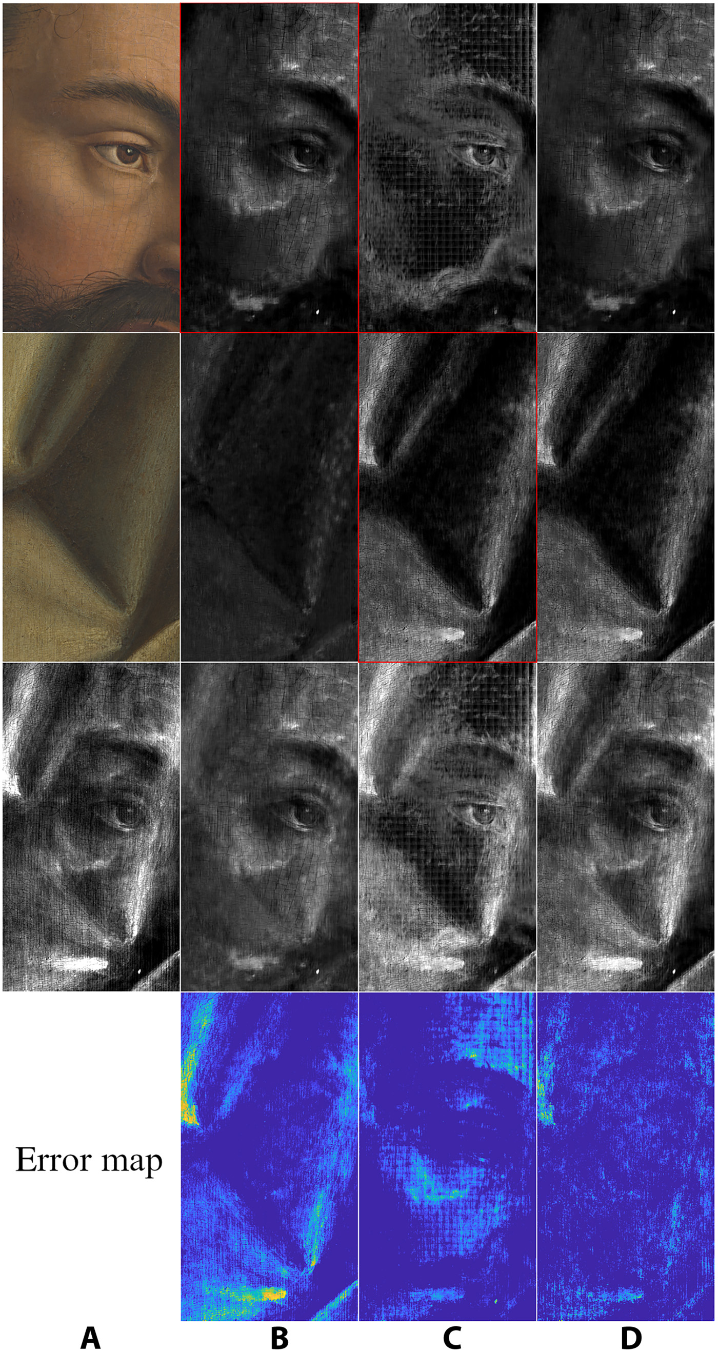 The algorithm interpreting the x-rays of a detail of Adam on the Ghent Altarpiece. The first two rows show the unmixed x-rays separating the two sides, while the third row shows the original x-ray of the full panel.