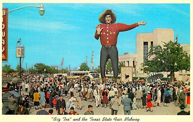 """Big Tex"" and the Texas State Fair Midway postcard."
