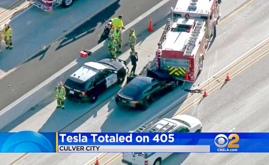 2014 Model S crashed into firetruck on I-405