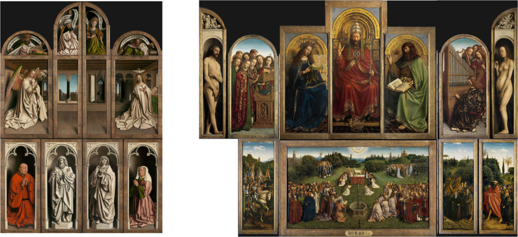 The Ghent Altarpiece, front and back. The missing panel was stolen almost 100 years ago. Photo by D. Provost (closed Ghent Altarpiece) and H. Maertens (open Ghent Altarpiece); courtesy of Saint-Bavo's Cathedral, Art in Flanders.