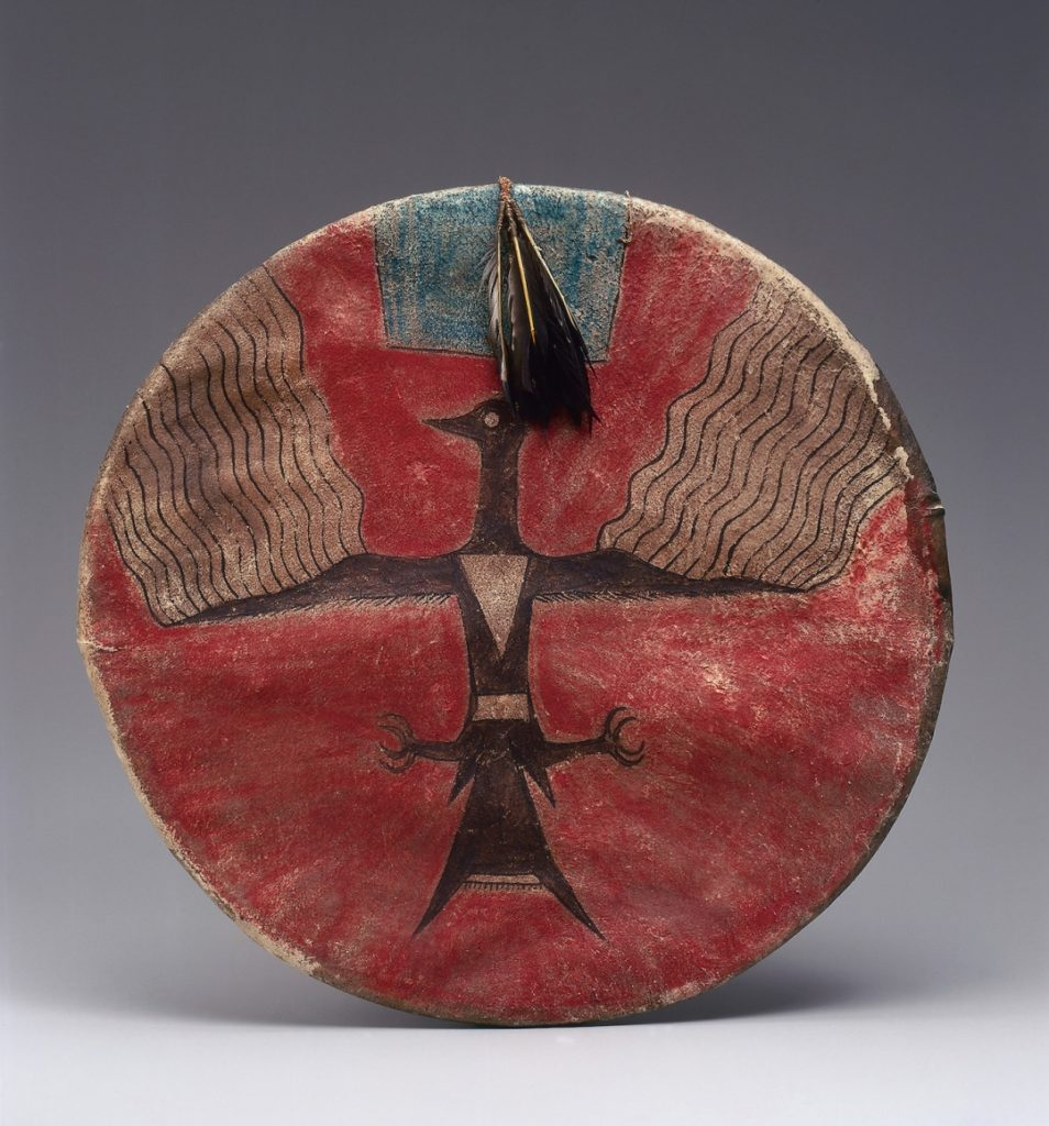 Joseph No Two Horns, (He Nupa Wanica), shield (Hunkpapa Lakota, Standing Rock Reservation, North Dakota, 1885). Courtesy Metropolitan Museum of Art, promised gift of Charles and Valerie Diker, photo by Dirk Bakker.
