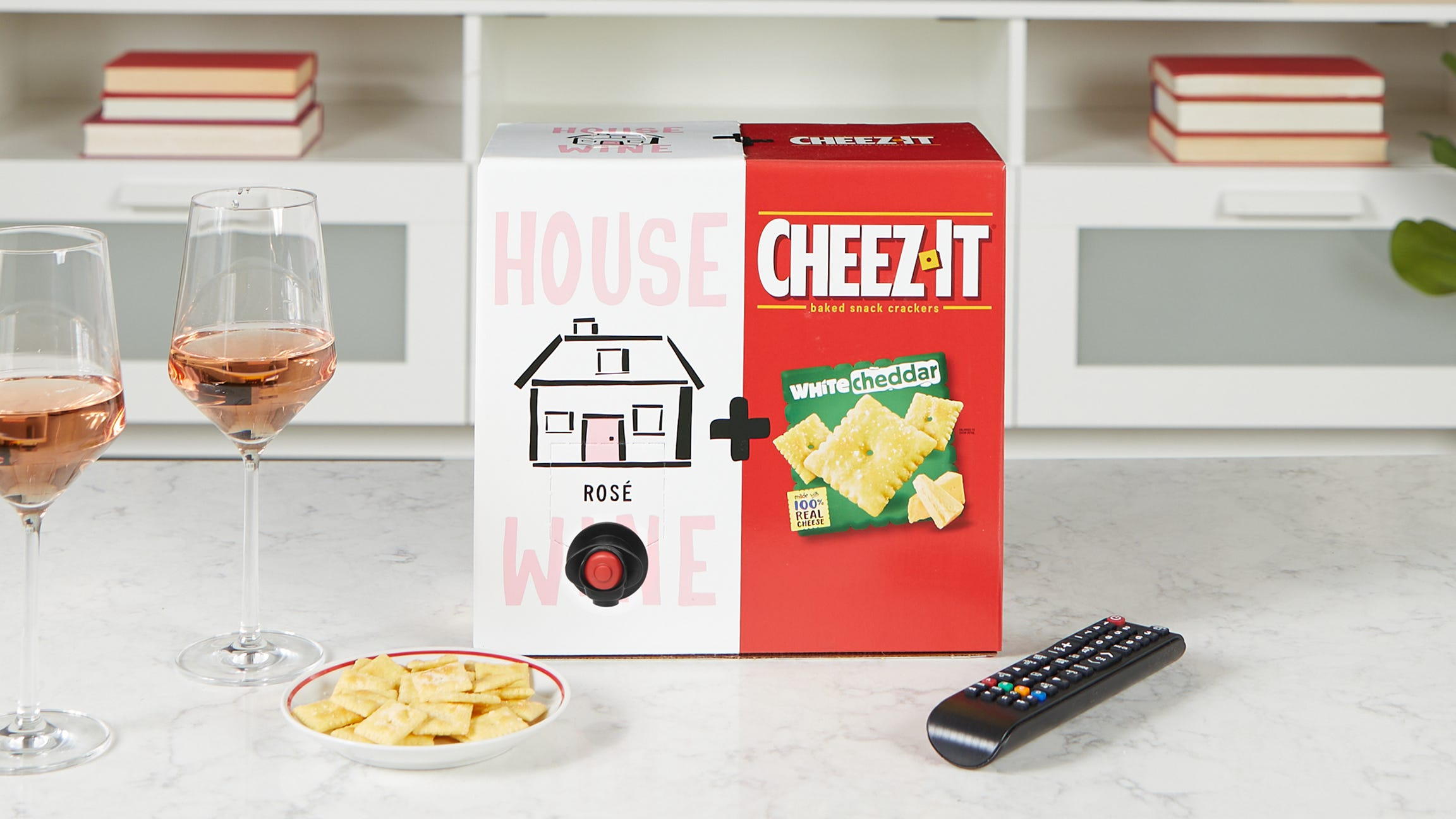 Rosé wine paired with Cheez-It White Cheddar crackers? Yes, in a box.