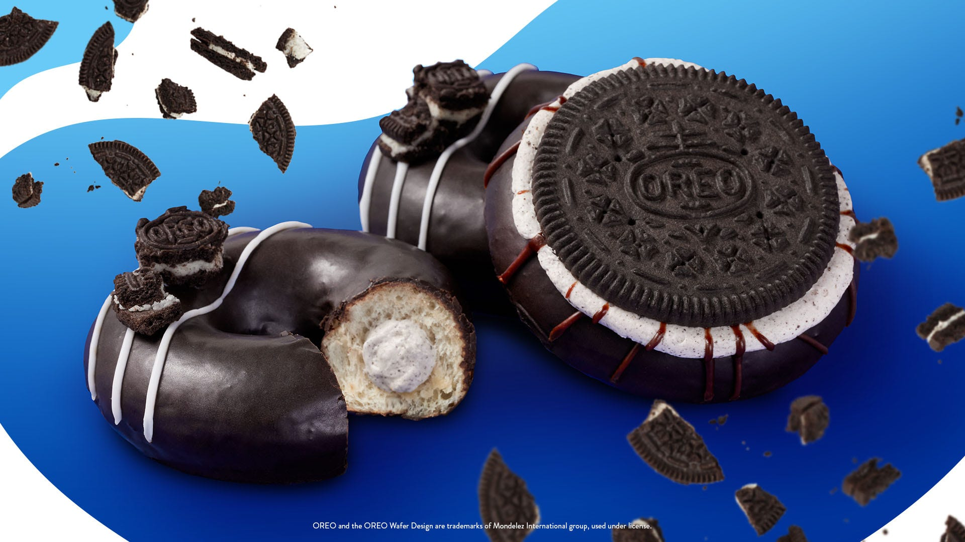 Krispy Kreme's new Oreo cookie donuts with Oreo glaze are available for a limited time nationwide