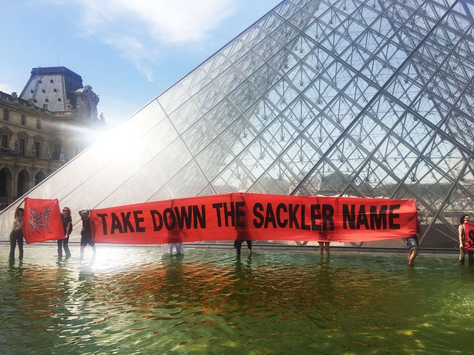 Sackler PAIN protesting the Arthur M. Sackler Museum at Harvard last year. (The museum is named after a Sackler family member who did not benefit from the sale of oxycontin. Photo courtesy of Sackler PAIN.