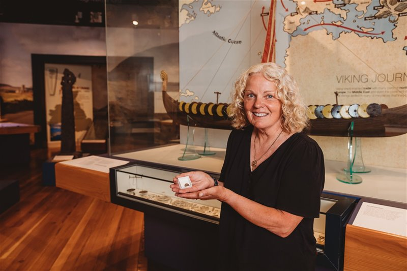 Kath Giles, who discovered the hoard of Viking coins. Photo courtesy of Manx National Heritage.