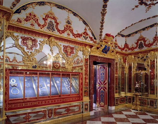 This undated photo provide by the State Art Collection in Dresden shows the Jewelry Room of the Green Vault before the 2019 robbery. Photo by David Brandt, courtesy of the Staatliche Kunstsammlungen Dresden.