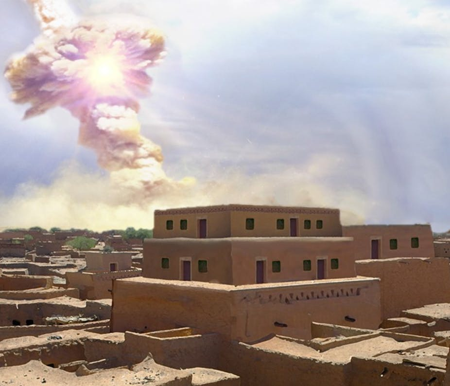 An artist rendering of the meteor airbust that destroyed the ancient city of Tall el-Hammam. Image by Allen West and Jennifer Rice Creative Commons Attribution-NoDerivs 2.0 Generic license.
