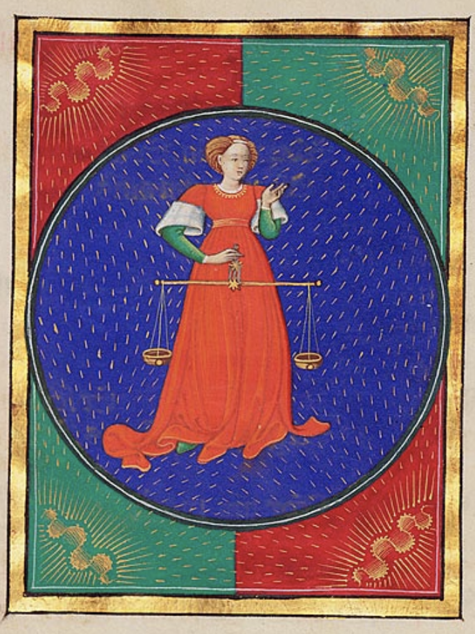 Libra from a Book of Hours, Italy, perhaps Milan. Third quarter of the Fifteenth Century. Courtesy of the Morgan Library & Museum.